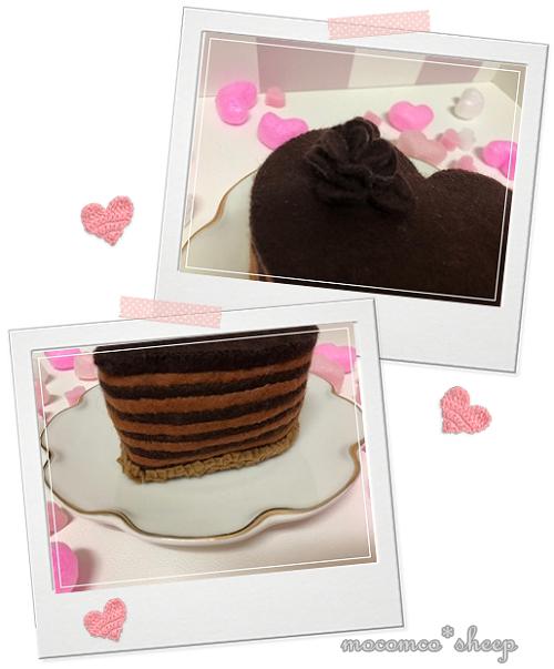フェルトのカフェスイーツチョコレートケーキ飾りとクラッカー