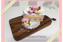mocomocosheepもこもこひつじフェルト飾りホイップの桃ケーキと桃のムースケーキの会